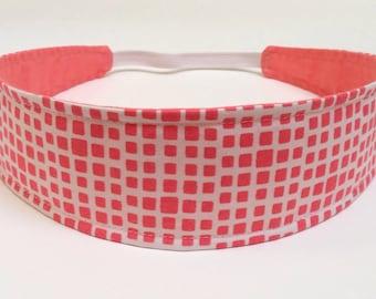 Adult Headband Woman, Womens Headband, Headband for Women  - Coral & White Geometric Squares  -  CORALINE