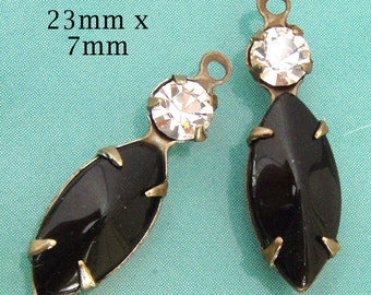 Black Glass Beads, Patina Brass Settings, Vintage Glass, Rhinestone Jewel, Choose Your Color, Set Stones, Navette, 23mm x 7mm, One Pair