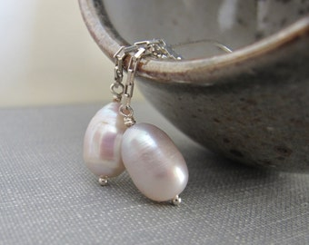 Pink Pearl Earrings, Pale Pale Pink, Silver Earrings, Silver Chain, Silver Jewelry, Freshwater Pearl, Barely Pink