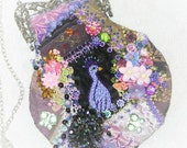 Peacock Purse, Evening Bag, Shoulder Bag, Victorian Purse, Embroidered, Beaded, Small, Clutch Purse, Purple, Wedding Purse, Crazy Quilt