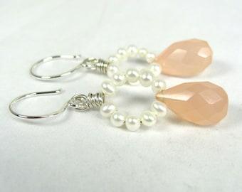 Pink Chalcedony, Pearl, Sterling Silver Earrings