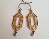 Deco frame earrings - gold, black, or navy accent beads