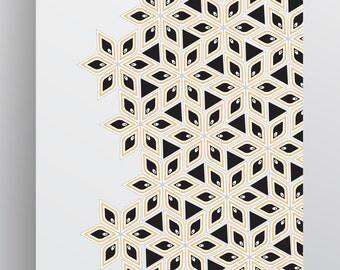 Floral Wall Print - Floral Art Print - Black Yellow Pattern - Downloadable Instant Digital Print - Printable - 18x24 - 11x14 - 8x10