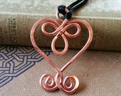 Copper Celtic Heart Pendant, Copper Wire Heart Necklace, Celtic Jewelry, Women, Celtic Knot Statement Necklace Gift for Her Stocking Stuffer