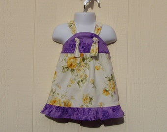 Baby Knot Dress Roses and Purple, Size 6 Months