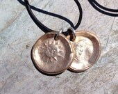 Reserved for Dorie - Bronze Sun & Moon Disks on Sterling Silver Chain