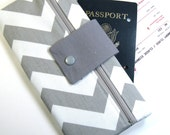 Travel Wallet Passport Cover Travel Organizer with Zipper Pouch - Gray & White Chevron