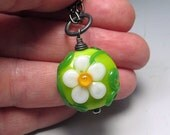 READY to SHIP lime flower heart pendant, small, LORiOLA lampwork glass