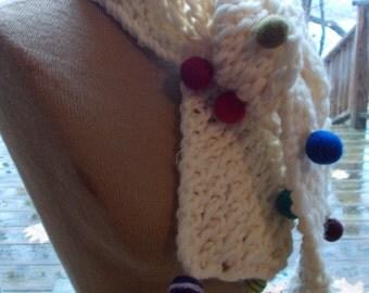 Polka Dot Hand knit white scarf with felt balls