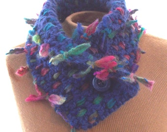 Crochet and Woven cobalt blue and multi colors neck scarf