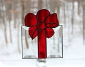 Beveled Stained Glass Present, Red Glass Bow, Sun-catcher, Clear, Hand Crafted and Made in America