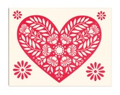 Mon Coeur letterpress card, leafy floral red heart greeting card, blank inside