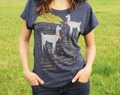 Sale! Llama Shirt- Loose T-Shirt, Blue with Cute Llamas in the Mountains, Graphic Shirt for Women, Hand Screen Printed
