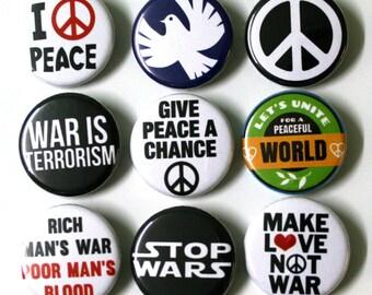Peace Anti-War Badges Buttons Pinbacks x 9