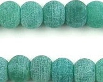 Frosted Matte Fire Agate 10x7mm Green Rondelle Beads 8 inch strand