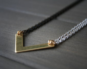 Duel Necklace - chevron geometric minimal v triangle arrow black white minimalist versatile gift for her women brass gold
