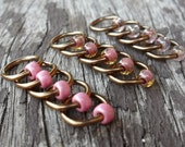 Choose Size Dangle Free Knitting Stitch Markers Antiqued Bronze Wire Pink Mix Seed Beads Set of 15 Snag Free