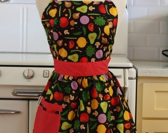 Retro Apron Vegetables on Black - CHLOE