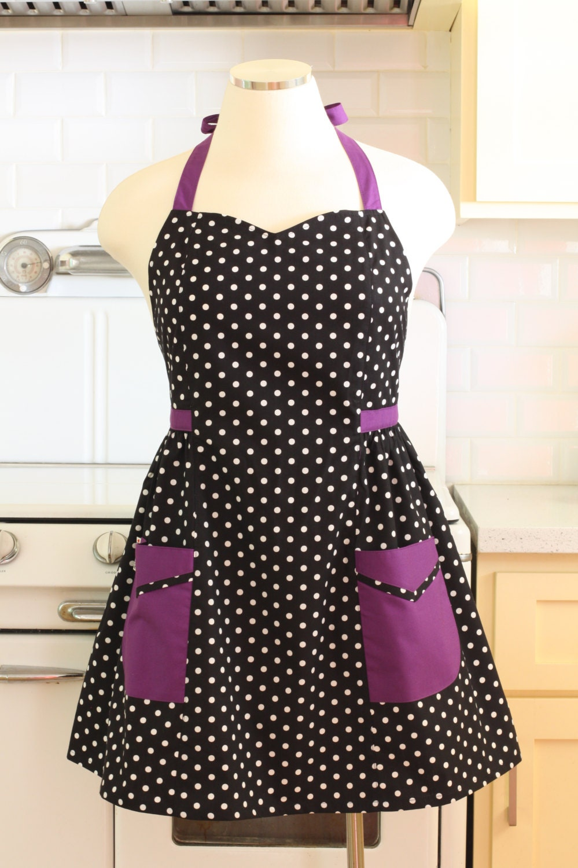 plus size apron polka dot black white with purple. Black Bedroom Furniture Sets. Home Design Ideas