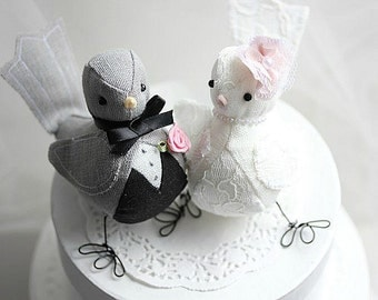Love Birds cake topper - Bird wedding cake topper - Purple - Wedding cake topper lovebirds - Customized Order