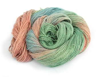 Double knitting yarn, hand dyed DK baby alpaca linen silk blend light worsted crochet yarn skein, Perran Yarns Years Gone By green blue pink
