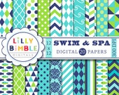 40% off Swim & Spa digital paper in lime green, navy, turquoise, blue, swimming pool, polka dots, chevron, fish, Instant Download