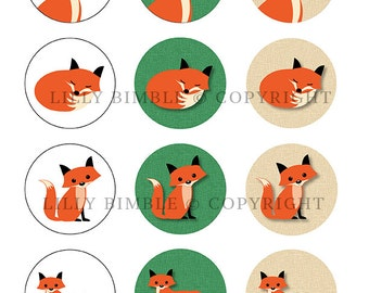 40% off Fox collage sheet. 12 two inch circles on letter size page PDF and JPG Instant Download