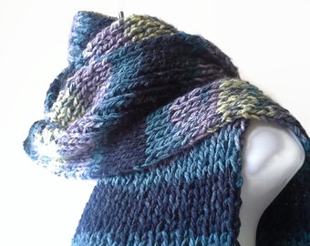 Knit Classic Scarf Blue Grey Black Yellow Ombre Stripe Scarf, Vegan Rib Knit Men Women Teen FELIX Ready to Ship - Autumn, Winter Fashion