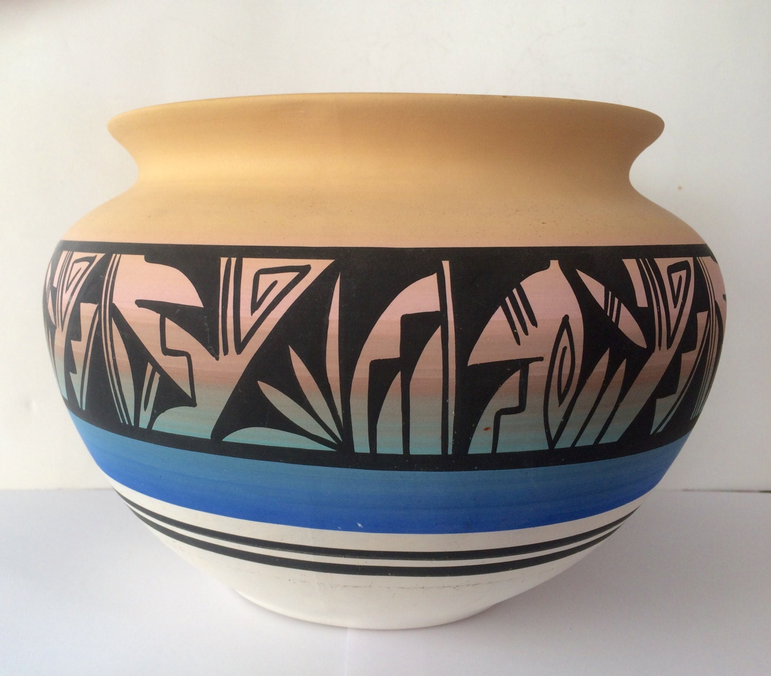 Authentic Native American Navajo Pottery Planter Signed