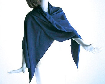 "Classic Blue Wrap, Snorkel Blue Shawl, Ink Blue, Solid Blue Silk Shawl, 100% Pure Silk Crepe, Long Scarf, 21"" x 72"" M Medium, Artinsilk."