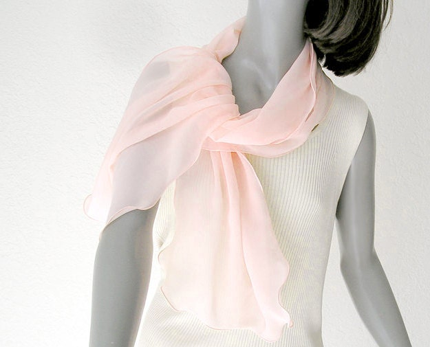 light pink scarf apricot scarf sheer pink wrap unique