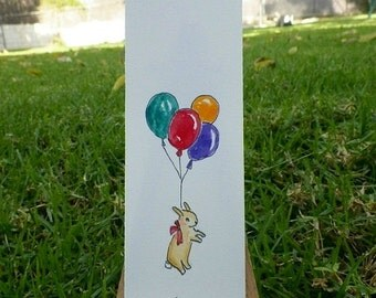 Bunny Rabbit Balloons Brown Bunny Watercolor ACEO Bookmark Art Original Painting by Artist Debra Alouise