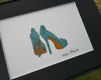 Sparkle High Heels Shoes Aqua Glitter Inspired Shoe Art Painting My Feet don't Hurt Fashion Art Original Painting Wedding Illustration