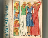 McCall's Misses' Dress or T-Shirt with Four Necklines for Stretchable Knits Pattern 5546