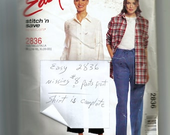 McCall's Misses' Shirt Pattern 2836