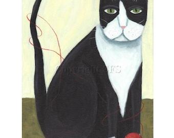 Tuxedo Cat PRINT, Cat Folk Art, Primitive Cat, Kitty with Yarn, Knitting Art, Naive Print, Funny Picture, Kitty Humor, Whimsical Wall Decor