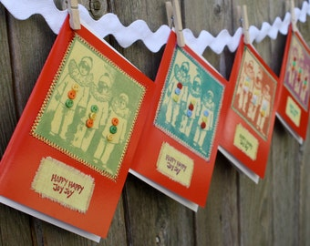 Greeting Cards Set of 4 WHIMSICAL CLOWN KIDS Glossy Red Card Stock Fabric and Buttons Happy Happy Joy Joy