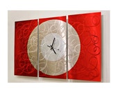 Red & Silver Modern Metal Wall Clock - Abstract Functional Art - Large Hanging Timepiece - Home Decor Accent - Burning Moon by Jon Allen