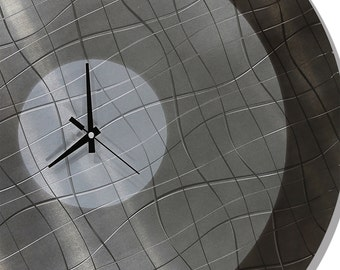 Modern Wall Clock - Metal Wall Art - Handmade Functional Hanging Wall Clock - Vibrations in Smoke by Jon Allen