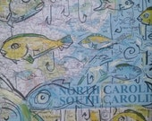NC fish map mounted/glazed ready to hang  art  16x10 with black trim