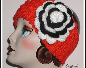 Orange And Black White Zebra Flower Headband Ear Warmer Headband Ski Head Band Cheer Team