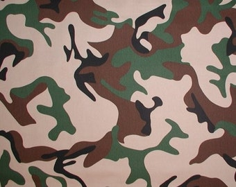 Camo Fabric Camouflage Heavy Duty Wide Twill Green Tan Brown Extra Wide