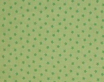 Lime Fabric Apple Green Star Miniature Stars Cotton Quilting 42 wide
