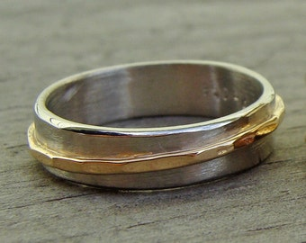 RESERVED - Recycled 14k Yellow Gold and Recycled 950 Palladium Asymmetrical Two Tone Wedding Band, Made to Order