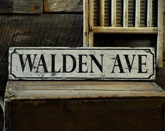 Custom Street Wood Sign - Rustic Hand Made Distressed Wooden ENS1000721