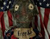 VERY Primitive, Black Americana, African American, Belindy, Raggedy Ann, Red, White, Blue, Flag, Freedom, Doll, Hafair, by Mustard Seed Orig