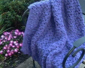 Hand Crocheted Decorative Afghan Blanket Throw Lavendar Shell
