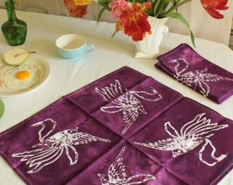 batik napkins bird pattern plum purple