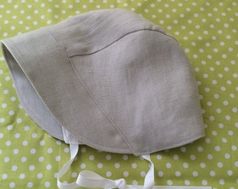 BONNET - Baby Sun Bonnet - Pearl Grey Linen - Vintage Inspired Bonnet - Size S M L - Batiste and Linen