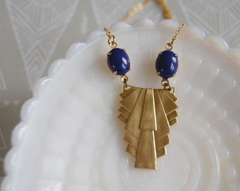 brass art deco style vintage necklace - indigo vintage stones- gold plate chain